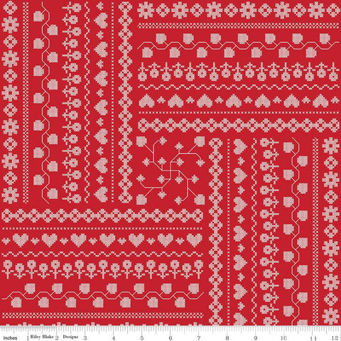 It's the Berries Cross Stitch Red - Riley Blake Designs - Flowers Hearts - Quilting Cotton Fabric - choose your cut