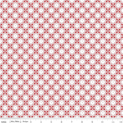 SALE It's the Berries Tile White - Riley Blake Designs - Red White Diagonal - Quilting Cotton Fabric - choose your cut