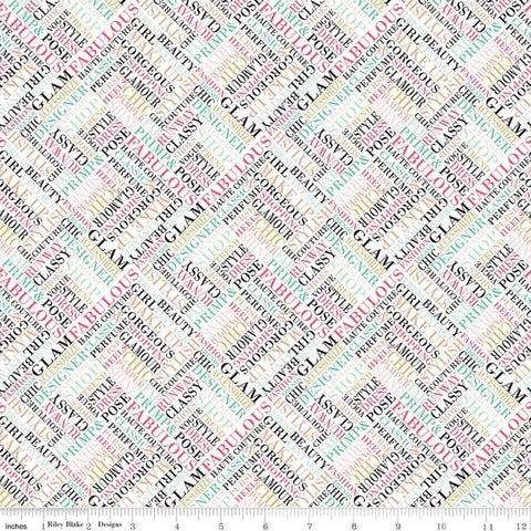 "Glam Girl Words White SPARKLE - Riley Blake Designs - Text Diagonal Rose Gold METALLIC - Quilting Cotton Fabric - 27"" end of bolt piece"