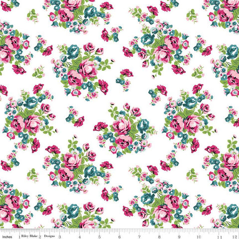 Chloe and Friends Floral White - Riley Blake Designs - Cat Cats Flowers Roses - Quilting Cotton Fabric