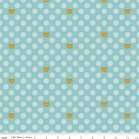 "Chloe and Friends Cat Dot Aqua SPARKLE - Riley Blake Designs - Blue Gold METALLIC Cat Cats 1/2"" Polka Dots   - Quilting Cotton Fabric"