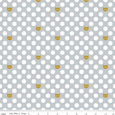 "Chloe and Friends Cat Dot Gray SPARKLE - Riley Blake Designs - Gold METALLIC Cats Cat 1/2"" Polka Dots - Quilting Cotton Fabric"