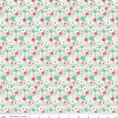 Glam Girl Small Floral Mint SPARKLE - Riley Blake Designs - Green Floral Flowers Rose Gold METALLIC - Quilting Cotton Fabric