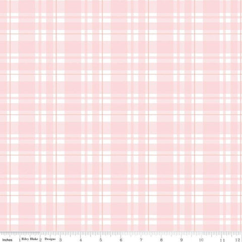 Glam Girl Plaid Pink SPARKLE - Riley Blake Designs - Pink White Rose Gold METALLIC - Quilting Cotton Fabric
