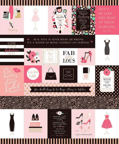 Glam Girl Panel  Pink SPARKLE by Riley Blake Designs - Rose Gold METALLIC Inspirational Messages Dresses Shoes - Quilting Cotton Fabric
