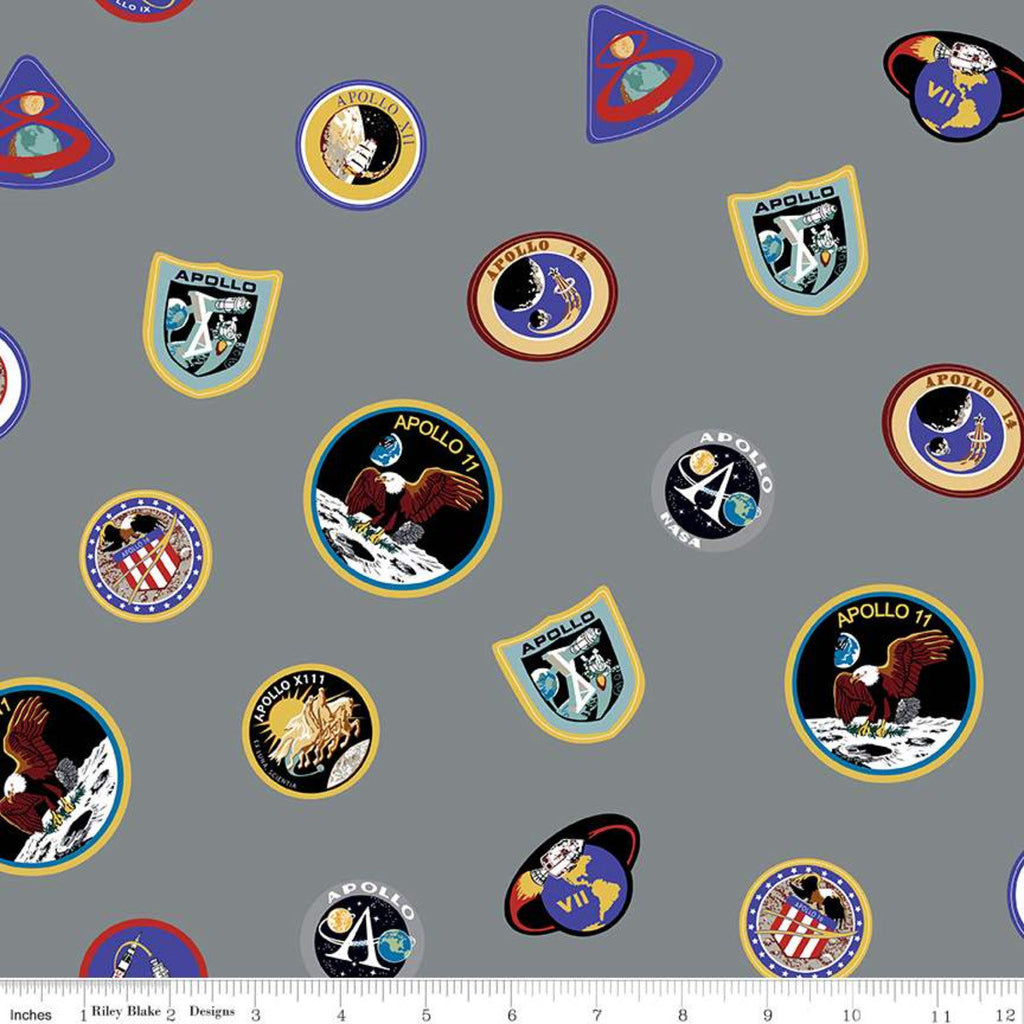 NASA Apollo 11 Main Gray - Riley Blake Designs - The Eagle Has Landed Outer Space Astronauts Rockets Badges - Quilting Cotton Fabric