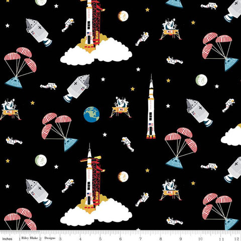 NASA Apollo 11 Outer Space Black - Riley Blake Designs - The Eagle Has Landed Space Astronauts Rockets  - Quilting Cotton Fabric