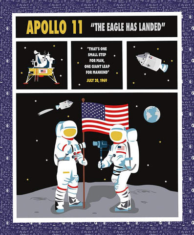 NASA Apollo 11 Panel - Riley Blake Designs - Space Astronauts The Eagle Has Landed Moon Landing One Small Step  - Quilting Cotton Fabric