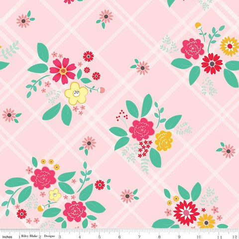Rose Lane Main Pink - Riley Blake Designs - Floral Flowers on Diagnoal Plaid - Quilting Cotton Fabric