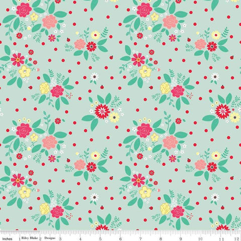 SALE Rose Lane Flower Bed Mint - Riley Blake Designs - Green Floral Flowers - Quilting Cotton Fabric - end of bolt pieces