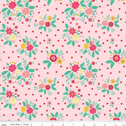SALE Rose Lane Flower Bed Pink - Riley Blake Designs - Floral Flowers - Quilting Cotton Fabric