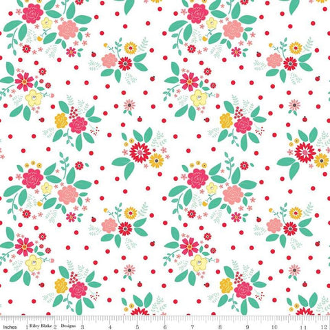 SALE Rose Lane Flower Bed White - Riley Blake Designs - Floral Flowers - Quilting Cotton Fabric
