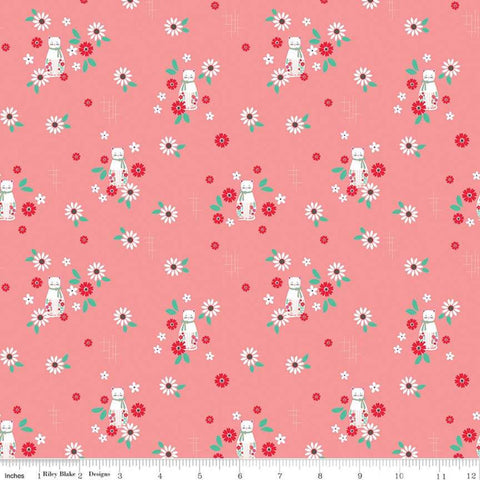 Rose Lane Cat Floral Dark Pink - Riley Blake Designs - Cats Floral Flowers - Quilting Cotton Fabric