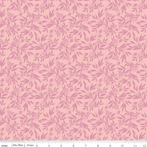 SALE Blooms and Bobbins Leaves Pink KNIT - Riley Blake Designs - Floral Flowers Tone on Tone - Jersey KNIT cotton lycra stretch fabric