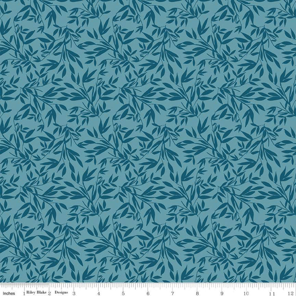 SALE Blooms and Bobbins Leaves Blue KNIT - Riley Blake Designs - Floral Flowers Tone on Tone - Jersey KNIT cotton lycra stretch fabric