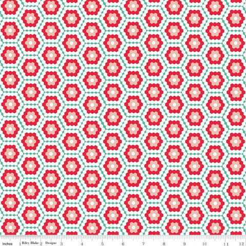 "Rose Lane Flower Garden Green - Riley Blake Designs - Hexagons Flowers Red Pink Green - Quilting Cotton Fabric - 1 yard 32"" end of bolt"