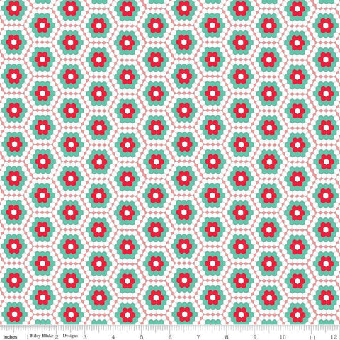 SALE Rose Lane Flower Garden Pink - Riley Blake Designs - Geometric Hexagons Floral Flowers Red White Pink Green  - Quilting Cotton Fabric