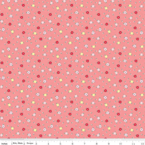 SALE Rose Lane Tiny Bouquet Dark Pink - Riley Blake Designs - Floral Flowers Daisies  - Quilting Cotton Fabric