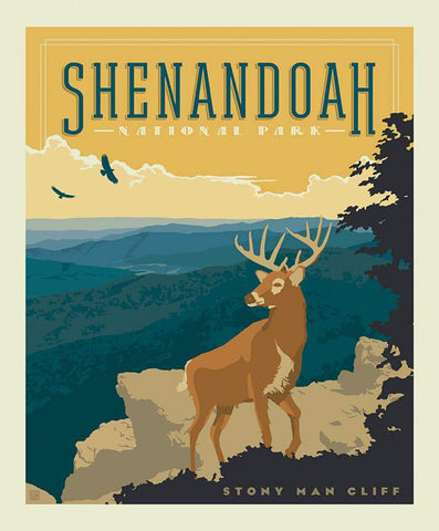 SALE National Parks Poster Panel Shenandoah by Riley Blake Designs - Outdoors Recreation Virginia - Quilting Cotton Fabric