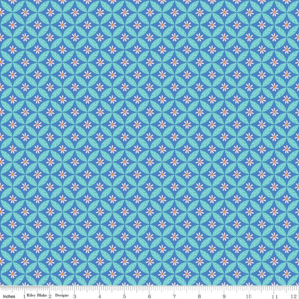SALE Under the Canopy Circle of Leaf Blue KNIT - Riley Blake Designs - Floral Flowers - Jersey KNIT cotton lycra stretch fabric