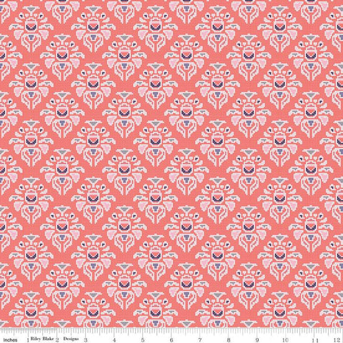 SALE Midnight Rose Damask Coral KNIT - Riley Blake Designs - Orange Floral Flowers - Jersey KNIT cotton lycra stretch fabric