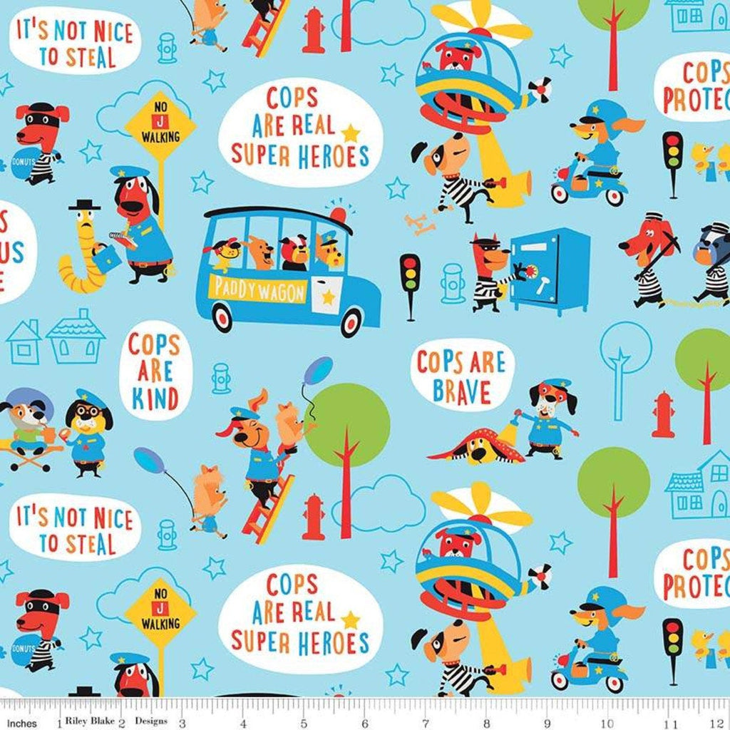 "Cops and Robbers Main Blue - Riley Blake Designs - Juvenile Cartoon Animals -  Quilting Cotton Fabric - 1 yard 24"" end of bolt piece"