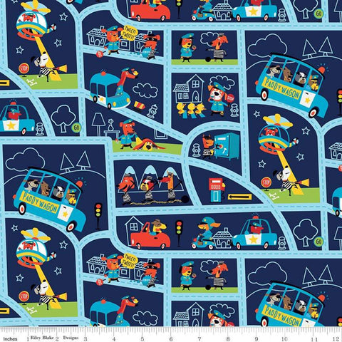 SALE Cops and Robbers Mayberry Navy - Riley Blake Designs - Blue Juvenile Cartoon Animals Street Map -  Quilting Cotton Fabric