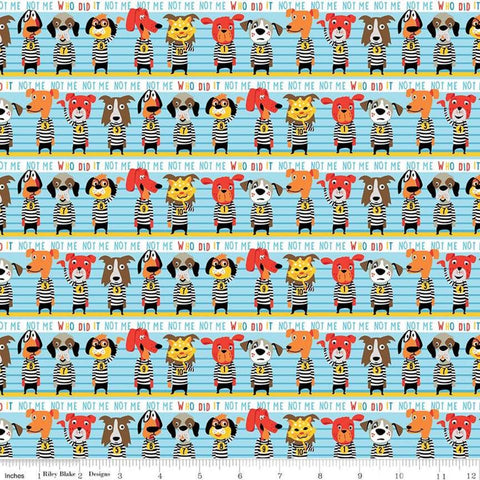 SALE Cops and Robbers Who Did It? Blue - Riley Blake Designs - Juvenile Cartoon Animals Police Line Up Dogs -  Quilting Cotton Fabric