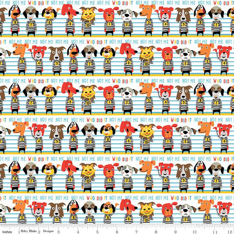 SALE Cops and Robbers Who Did It? White - Riley Blake Designs - Juvenile Cartoon Animals Police Line Up Dogs -  Quilting Cotton Fabric