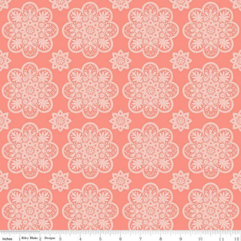 A Little Bit of Sparkle Tile Coral - Riley Blake Designs - Orange Pink Floral Medallions Flowers - Quilting Cotton Fabric