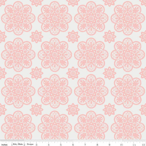 A Little Bit of Sparkle Tile White - Riley Blake Designs - Pink Floral Medallions Flowers - Quilting Cotton Fabric