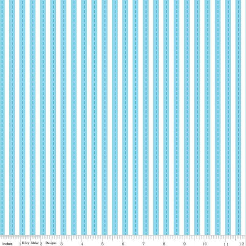 Cops and Robbers Lanes Blue - Riley Blake Designs - Juvenile Cartoon Blue White Stripe Stripes Striped Roads -  Quilting Cotton Fabric