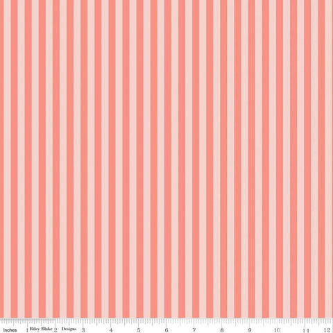 A Little Bit of Sparkle Stripe Coral - Riley Blake Designs - Stripes Striped - Quilting Cotton Fabric