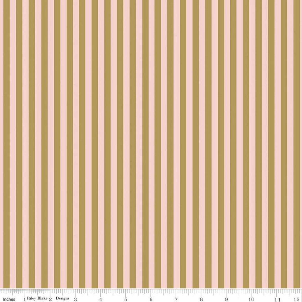 "A Little Bit of Sparkle Stripe Pink SPARKLE - Riley Blake - Pink with Gold METALLIC Stripes Striped - Cotton - 34"" end of bolt piece"