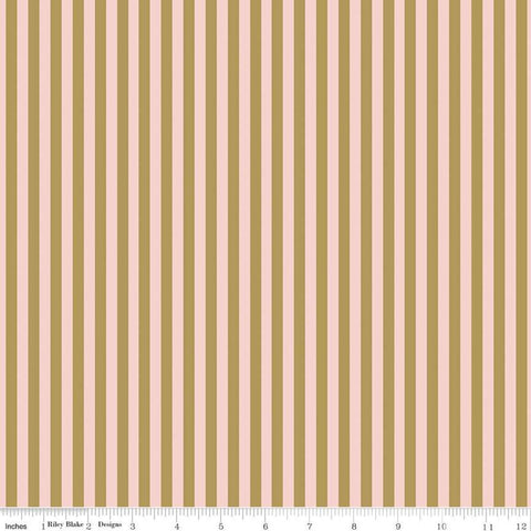 A Little Bit of Sparkle Stripe Pink SPARKLE - Riley Blake Designs - Pink with Gold METALLIC Stripes Striped - Quilting Cotton Fabric