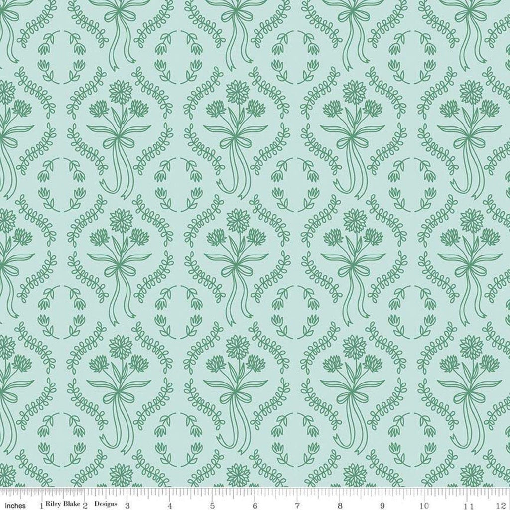 Pemberley Wallpaper Light Teal - Riley Blake Designs - Green Jane Austen Pride and Prejudice Floral Flowers  - Quilting Cotton Fabric