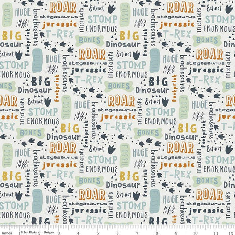 Fossil Rim 2 Words Cream - Riley Blake Designs - Blue Juvenile Dinosaurs Animals Text Icons -  Quilting Cotton Fabric