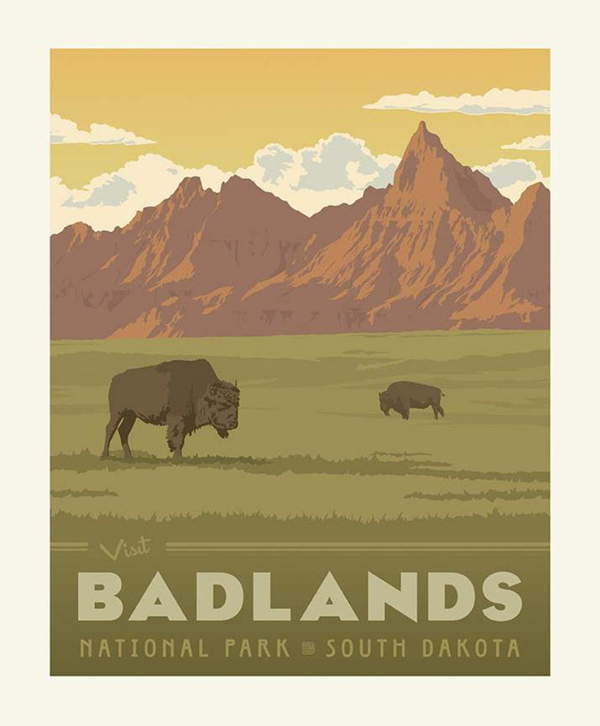 SALE National Parks Poster Panel Badlands by Riley Blake Designs - Outdoors Recreation South Dakota Buffalo Bison - Quilting Cotton Fabric