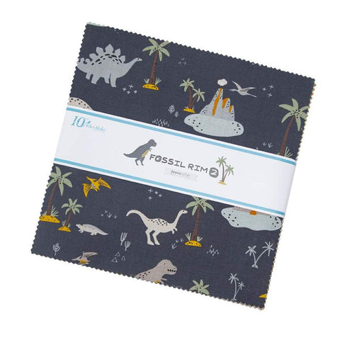 "SALE Fossil Rim 2 Layer Cake 10"" Stacker Bundle - Riley Blake Designs - 42 piece Precut Pre cut - Dinosaurs - Quilting Cotton Fabric"