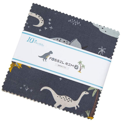 "Fossil Rim 2 Charm Pack 5"" Stacker Bundle - Riley Blake Designs - 42 piece Precut Pre cut - Dinosaurs - Quilting Cotton Fabric"