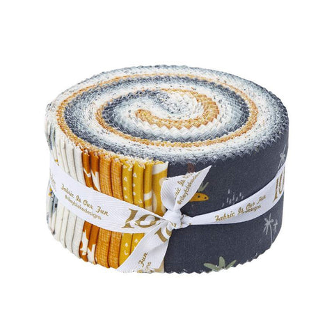 SALE Fossil Rim 2 Collection 2.5-Inch Rolie Polie Jelly Roll 40 pieces Riley Blake Designs - Precut Bundle-Dinosaurs Quilting Cotton Fabric