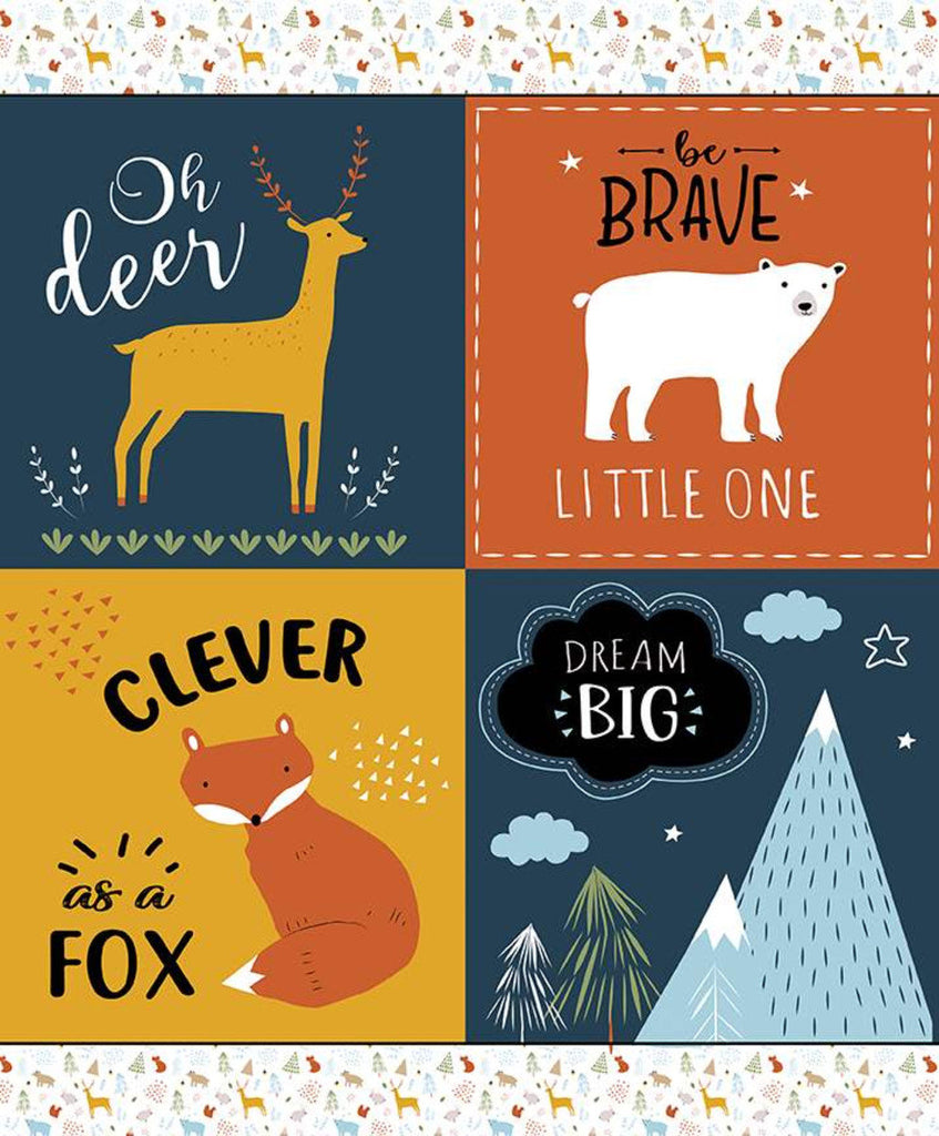 In the Forest Panel Mustard - Riley Blake Designs - Forest Animals Scenes Sayings - Quilting Cotton Fabric
