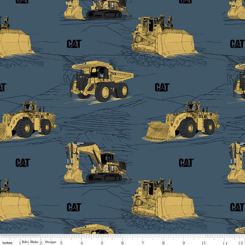 CAT Main Blue - Riley Blake Designs - Construction Equipment Excavators Bulldozers Trucks Vehicles - Quilting Cotton Fabric