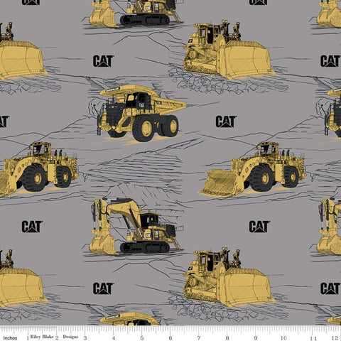 SALE CAT Main Gray - Riley Blake Designs - Construction Equipment Excavators Bulldozers Trucks Vehicles - Quilting Cotton Fabric