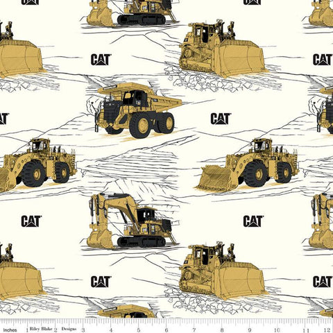 SALE CAT Main White - Riley Blake Designs - Construction Equipment Excavators Bulldozers Trucks Vehicles  - Quilting Cotton Fabric