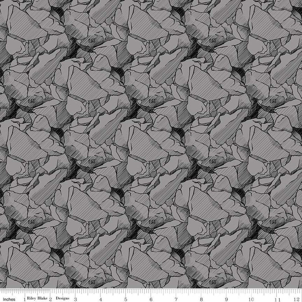 CAT Rocks Gray - Riley Blake Designs - Construction CAT Logo  - Quilting Cotton Fabric