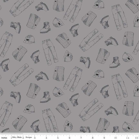 SALE CAT Garb Gray - Riley Blake Designs - Construction CAT Logo Clothing - Quilting Cotton Fabric
