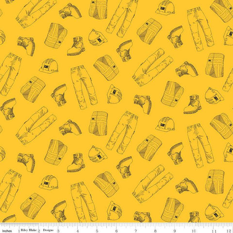 SALE CAT Garb Yellow - Riley Blake Designs - Construction CAT Logo Clothing - Quilting Cotton Fabric