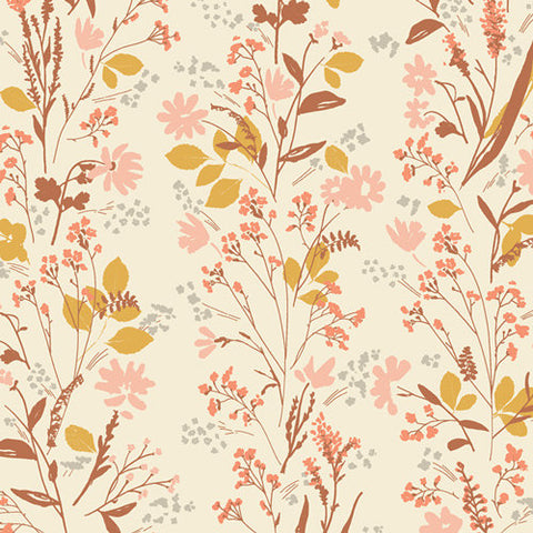 Nature Walk Yellowstone - Art Gallery - Cream Gold Brown Pink Floral Flowers - Jersey KNIT cotton lycra stretch fabric