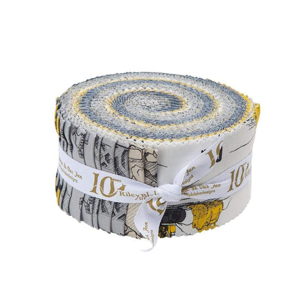 SALE CAT Collection 2.5-Inch Rolie Polie Jelly Roll 40 pieces Riley Blake Designs - Precut Bundle - Construction - Quilting Cotton Fabric